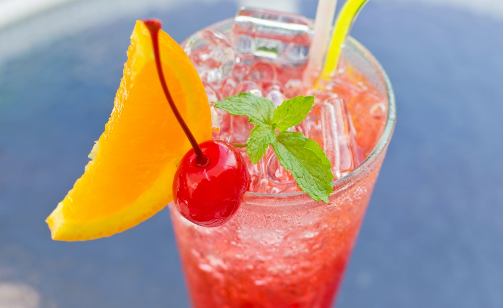 red tropical cocktail.